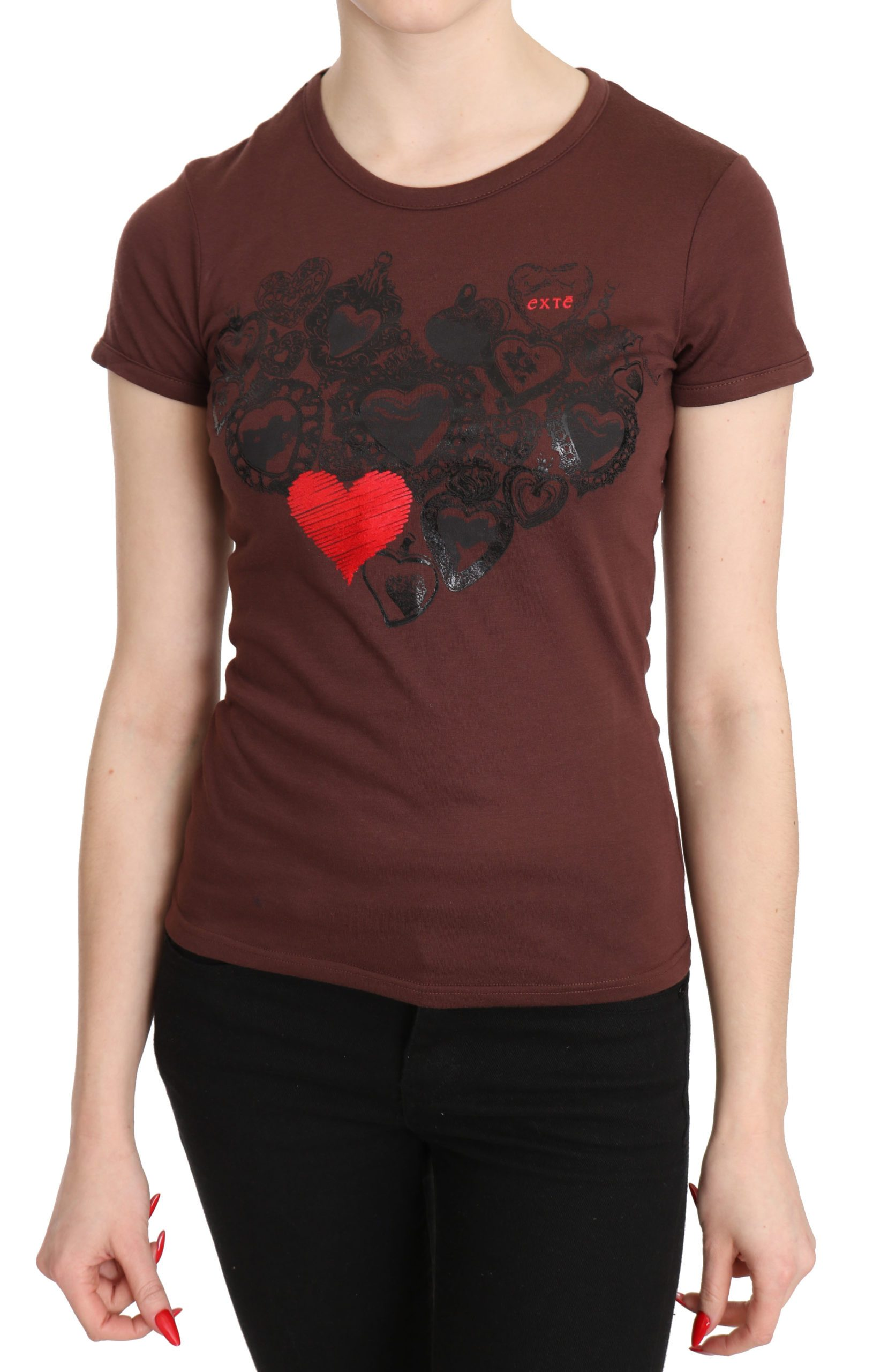 Exte Women's Hearts Printed Round Neck T-Shirt Top Brown TSH3419 - IT42|M