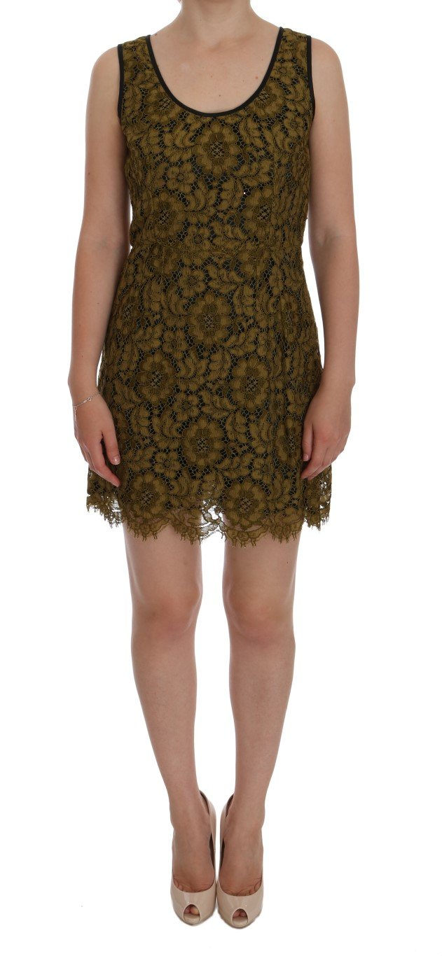 Dolce & Gabbana Women's Floral Lace Mini Shift Dress Yellow DR1013 - IT44 L