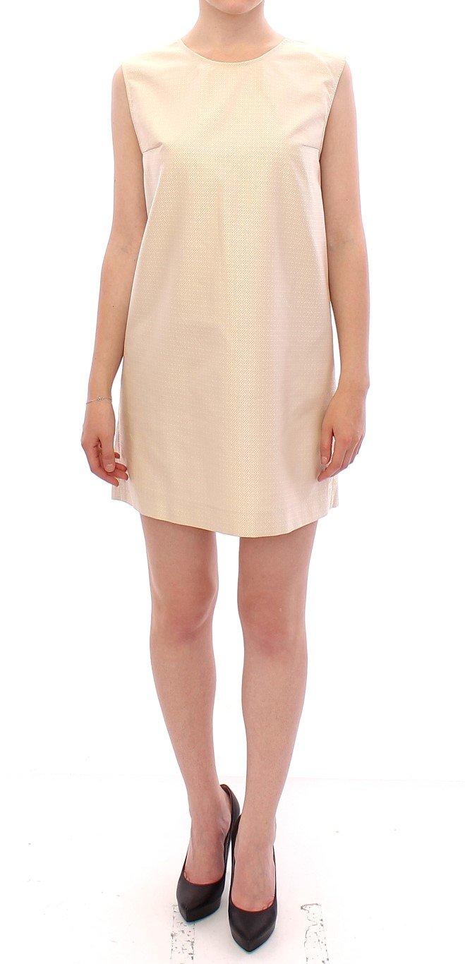 Andrea Incontri Women's Sleeveless Shift Mini Dress Beige GSS10721 - IT44 L