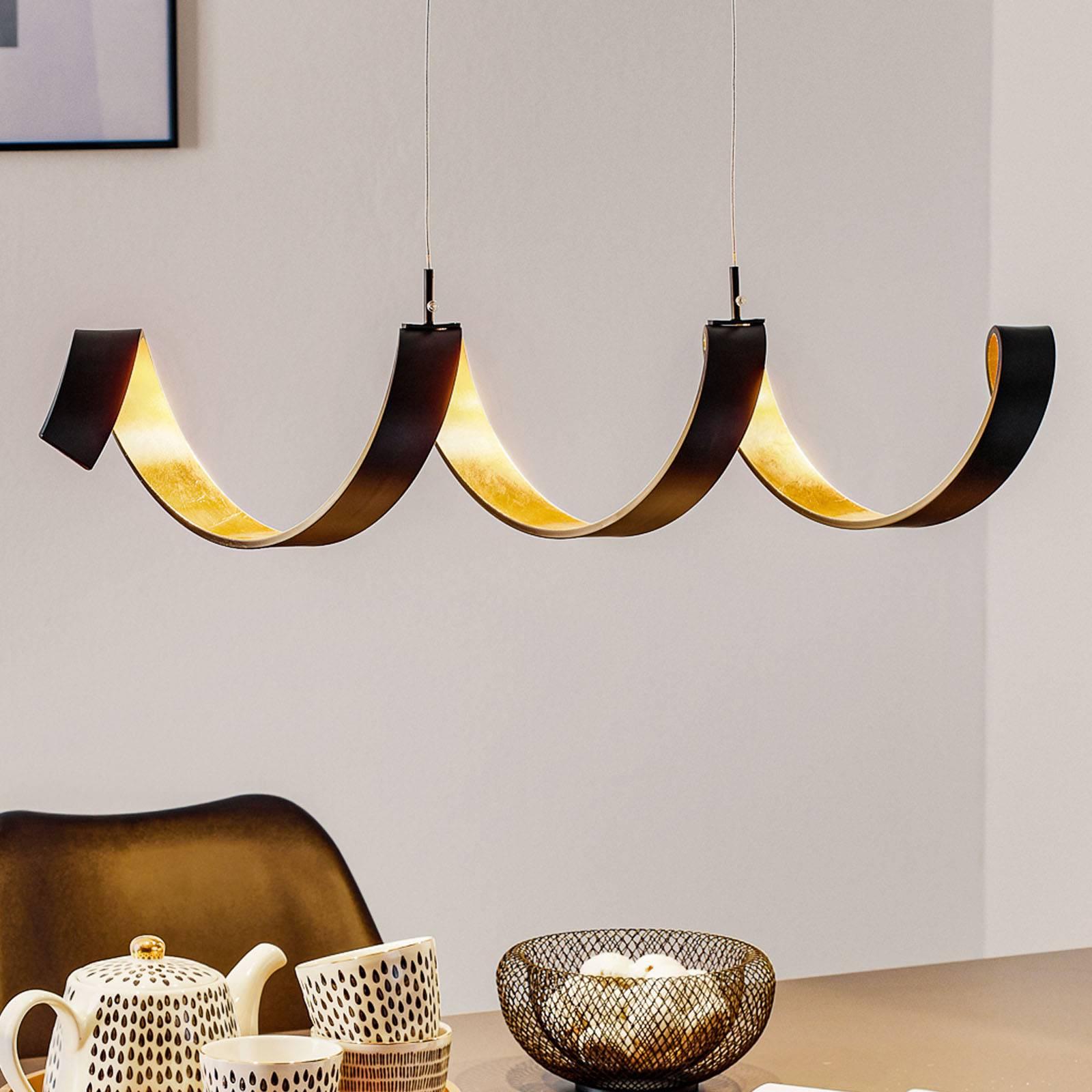 Helix-LED-riippuvalaisin, musta-kulta, 80 cm
