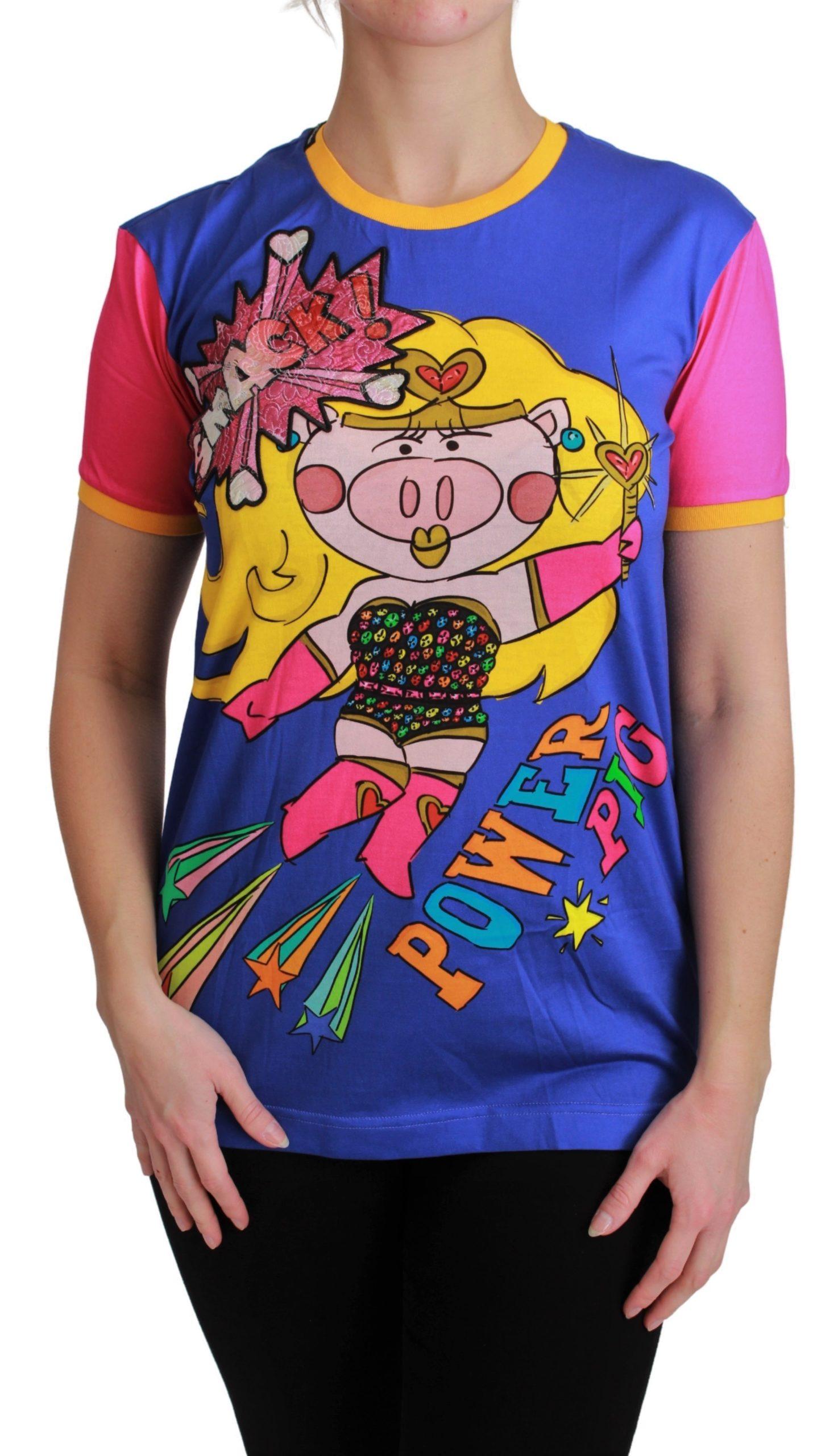 Dolce & Gabbana Women's PIG SUPERGIRL T-Shirt Blue TSH4553 - IT36   XS
