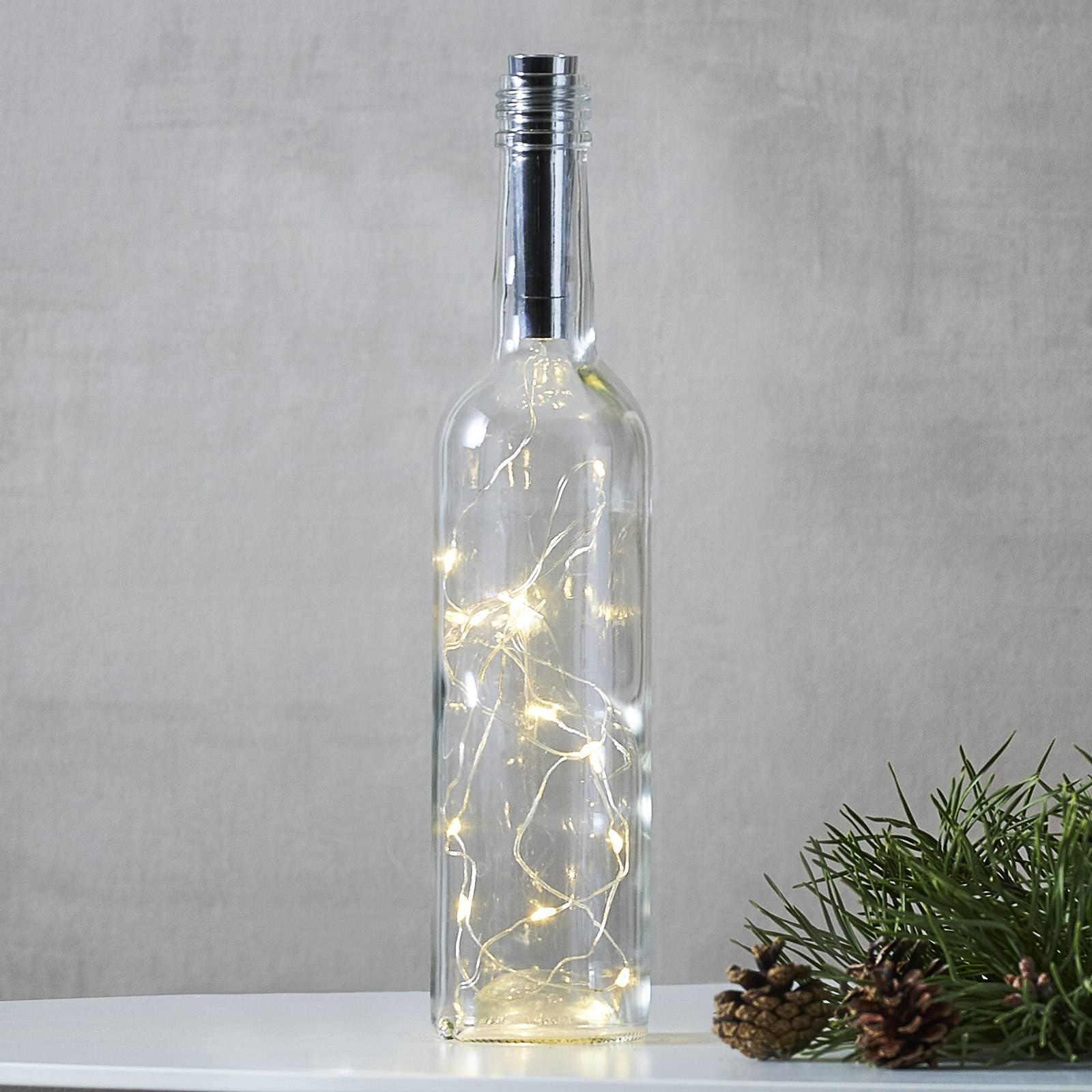 Valoketju Dew Drops pulloihin, 75cm paristo, hopea
