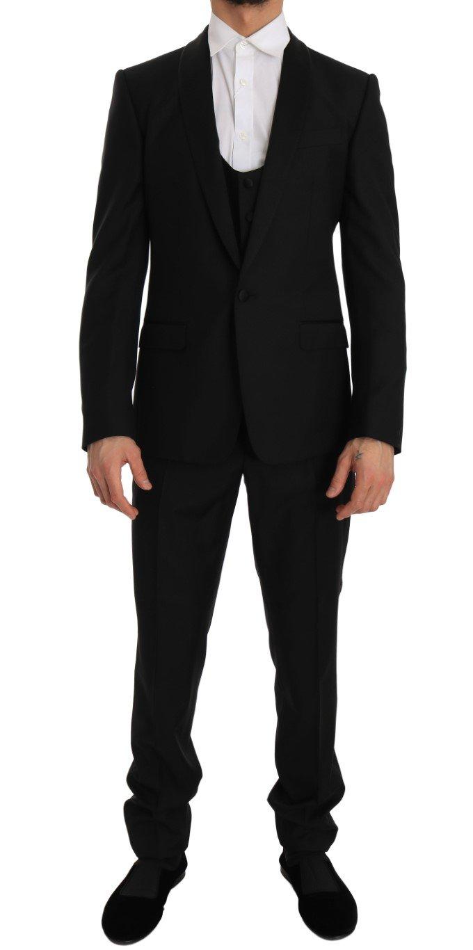 Dolce & Gabbana Men's Wool Silk MARTINI Slim Smoking Suit Bordeaux JKT1257 - IT48 | M