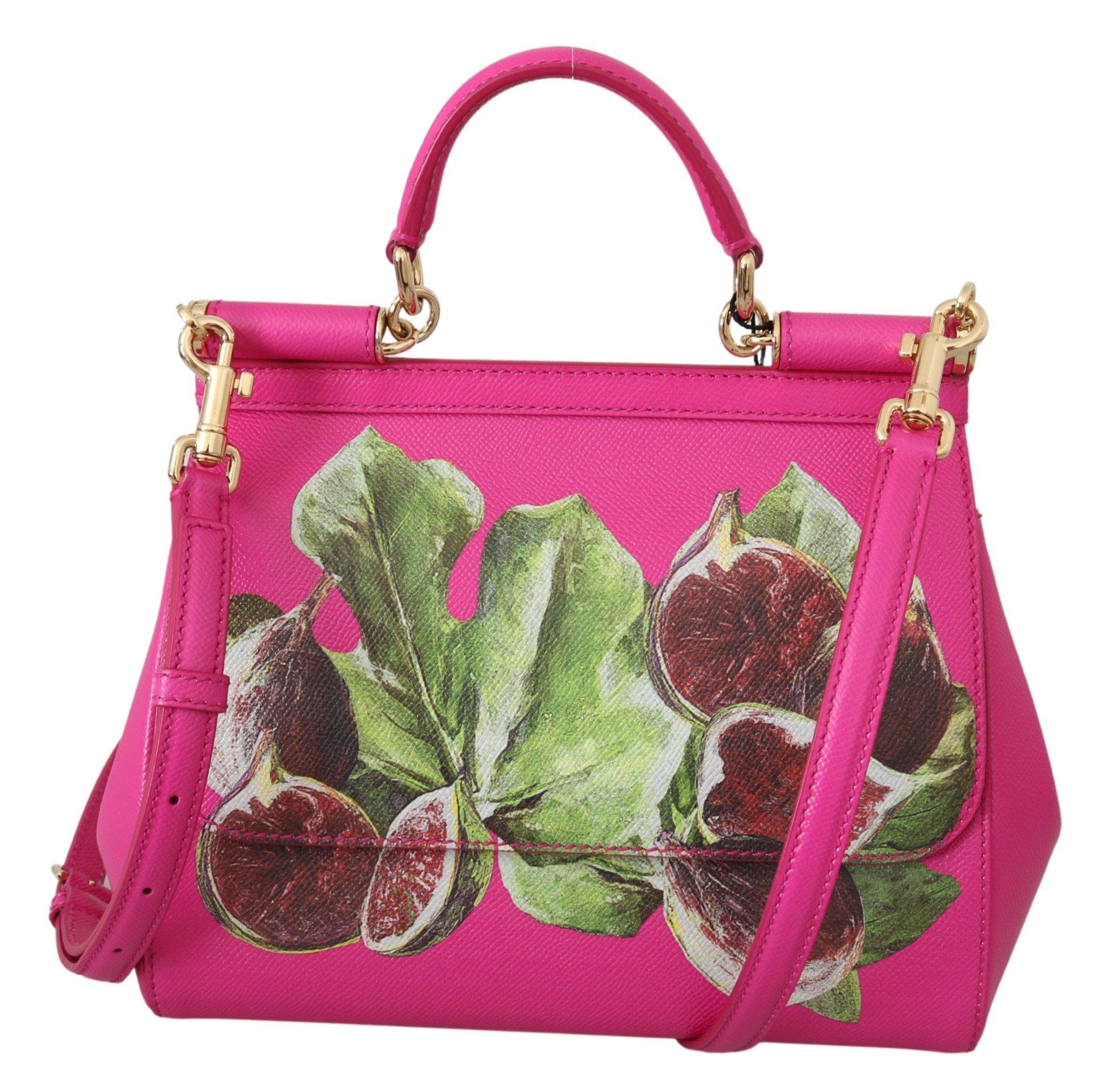 Dolce & Gabbana Women's Fig Fruit SICILY Leather Shoulder Bag Pink VAS9948
