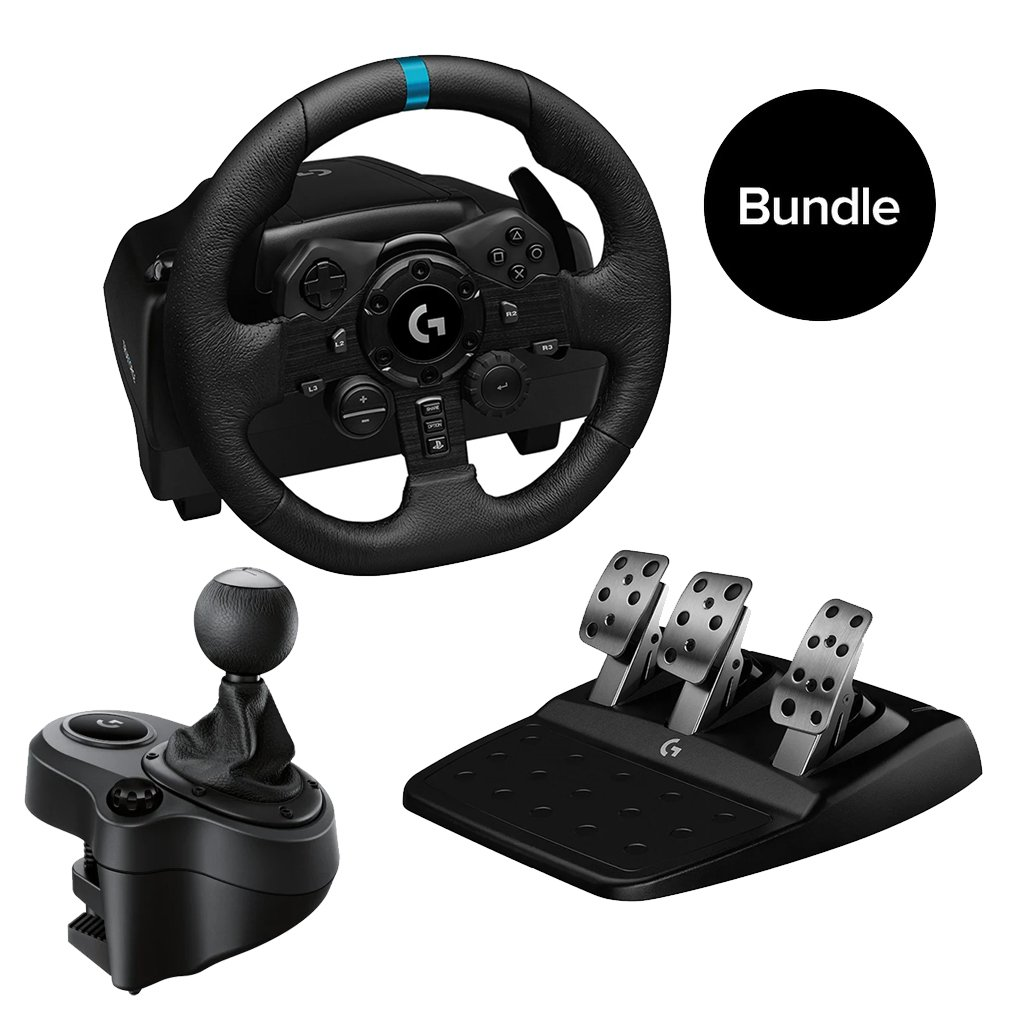 Logitech - G923 Racing Wheel and Pedals & Logitech - Driving Force Shifter for PS5, PS4 and PC - USB - Bundle