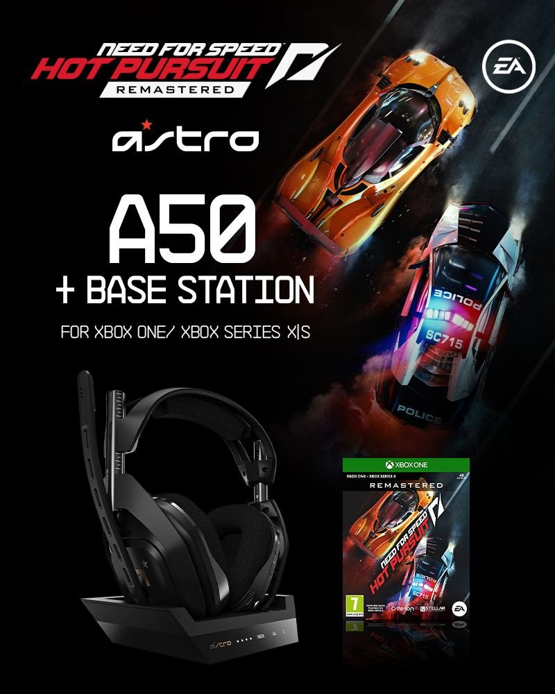 ASTRO A50 Wireless + Base Station for Xbox S,X/PC - GEN4 & Need for Speed Hot Pursuit Remaster XB1 - Bundle