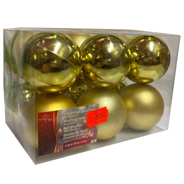 Julgranskulor Guld 12-pack