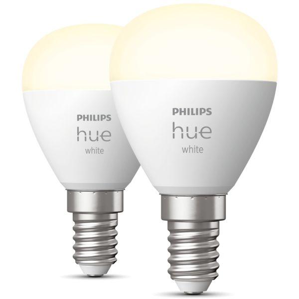 Philips Hue White LED-lampe 5,7 W, P45, E14, 2-pakning