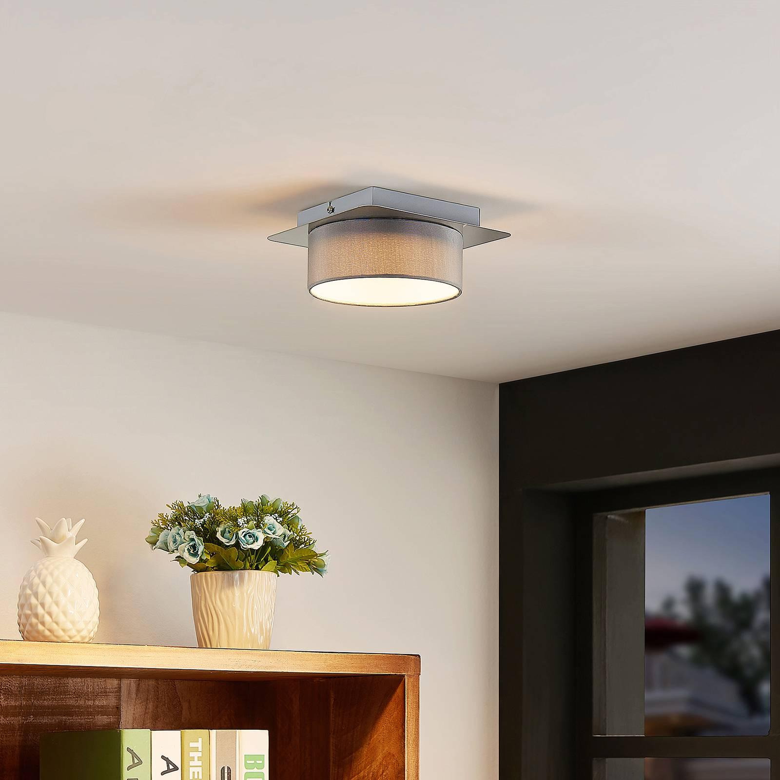 Lindby Aviola -LED-kattovalaisin, kangasvarjostin