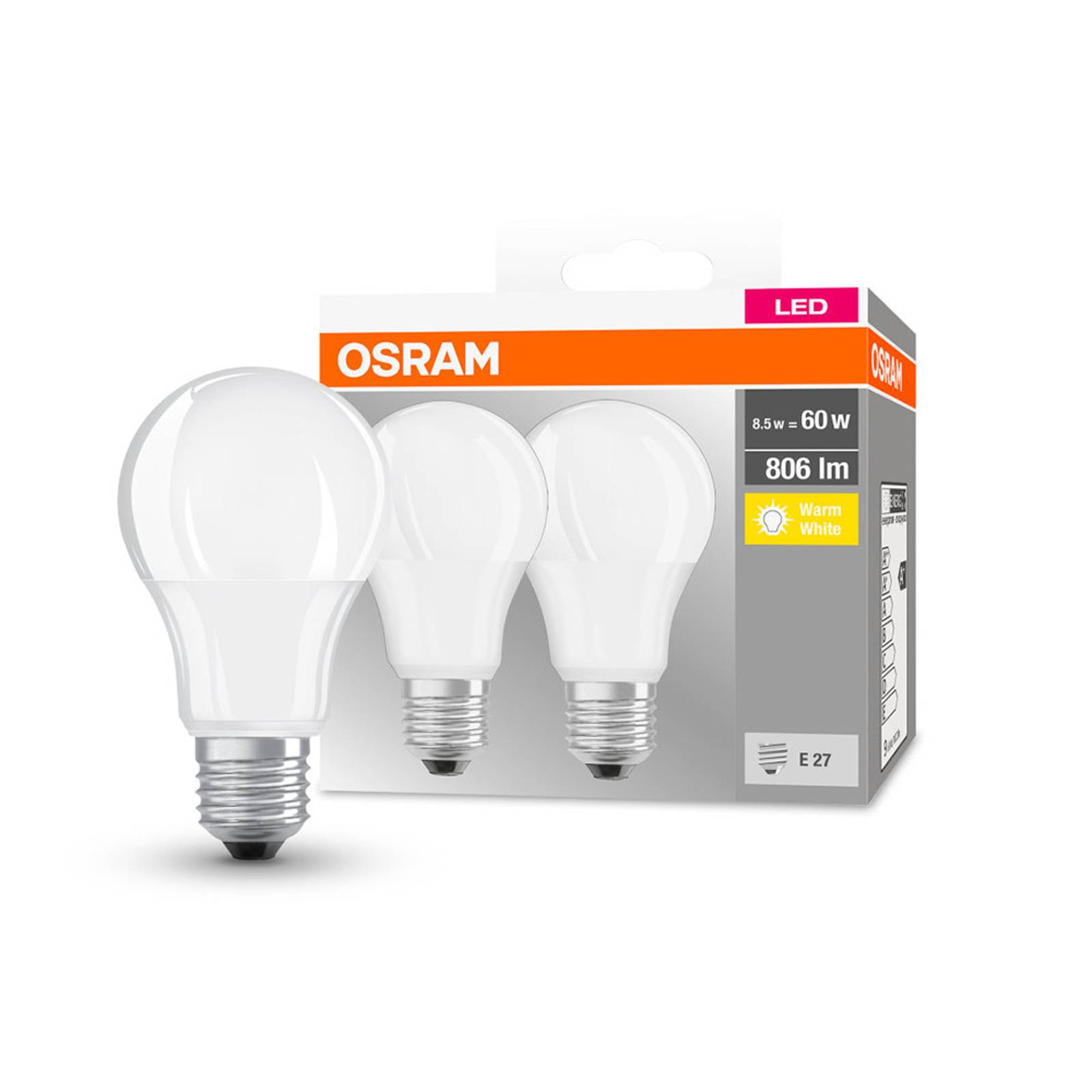 OSRAM-LED-lamppu Classic E27 8,5W 2700K 806lm 2kpl