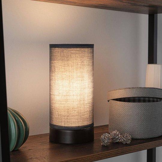 Paulmann Pia bordlampe av stoff, svart/grå