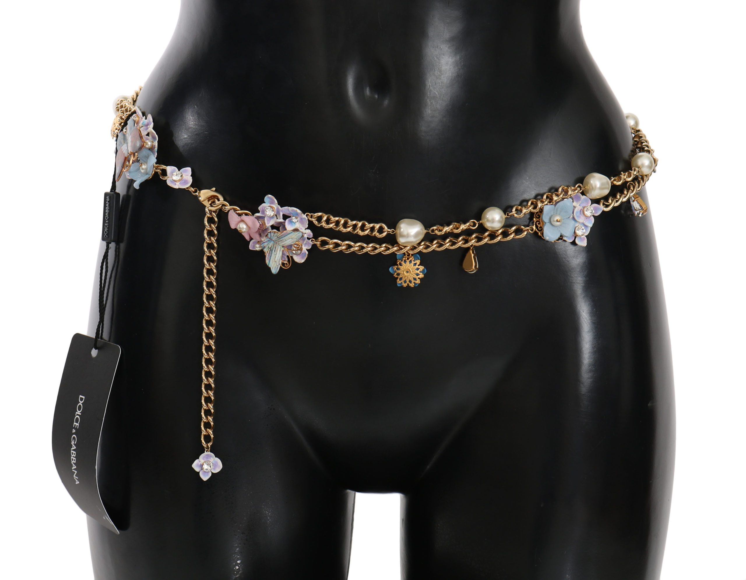 Dolce & Gabbana Women's Chain Crystal Butterfly Flower Belt Gold SMYK1032 - 85 cm / 34 Inches
