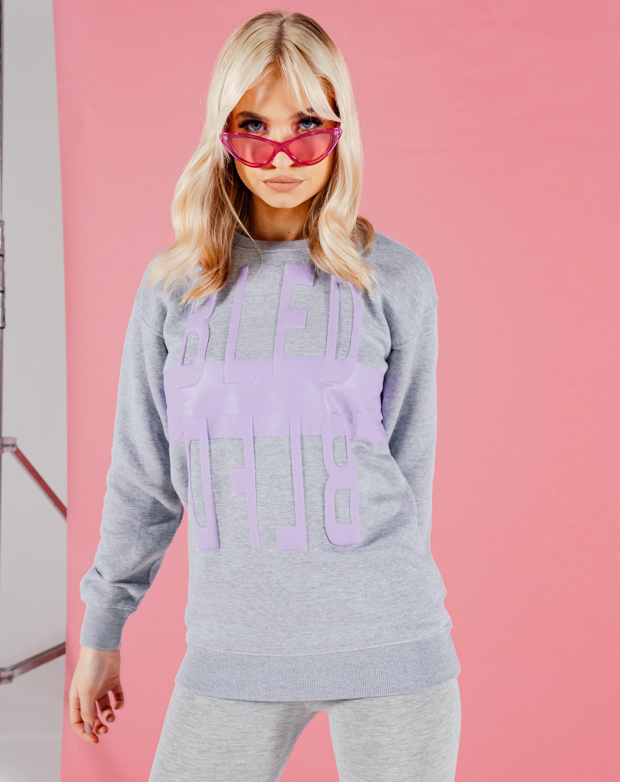 Butari Embossed Print Longline Sweatshirt - Grey / 8