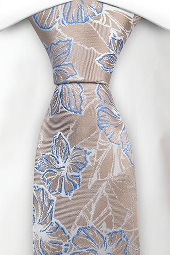 Silke Slips, Metallisk beige kyper, store hvite & blå blomster, Beige, Blomster