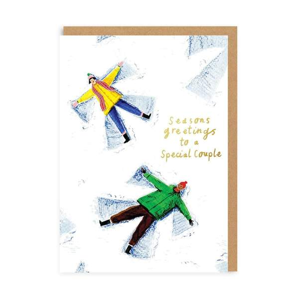 Special Couple Snow Angels Christmas Card