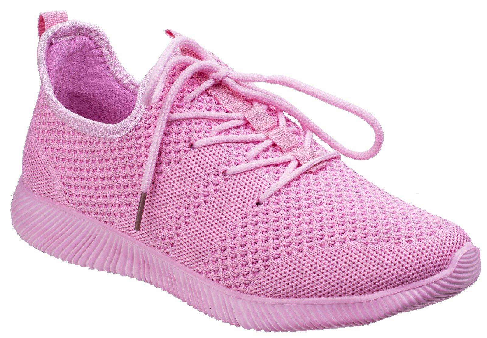 Divaz Women's Heidi Knit Trainer Grey 26327-43957 - Pink 3