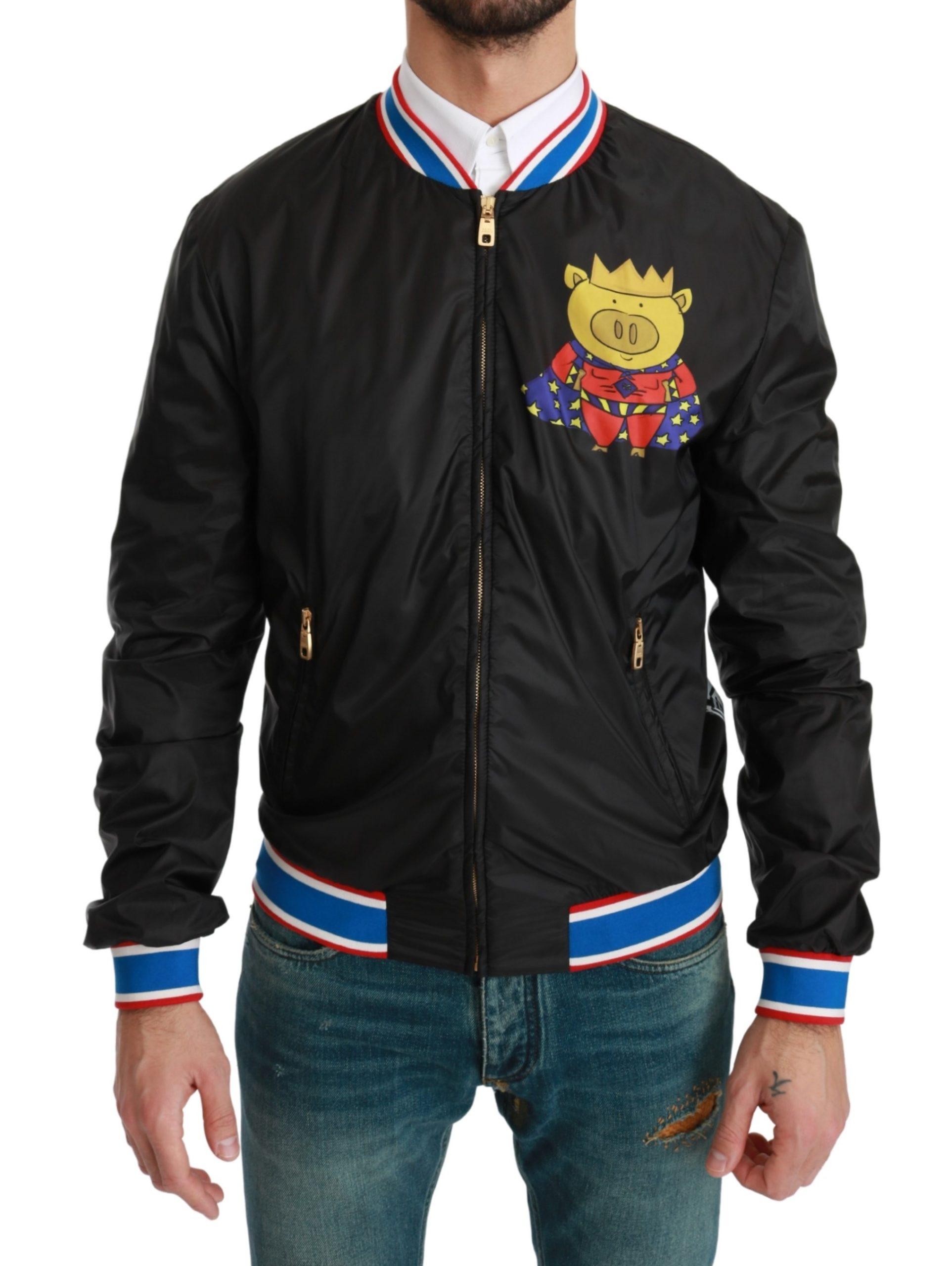 Dolce & Gabbana Men's YEAR OF THE PIG Bomber Jacket Black JKT2599 - IT44 | XS