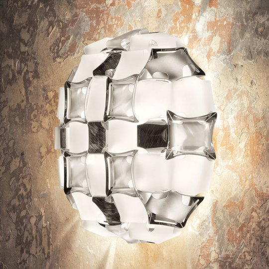 Slamp Mida -seinävalaisin, 32x32 cm, platina/valk.