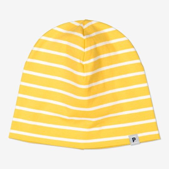 Stripet lue med p-applikasjon gul