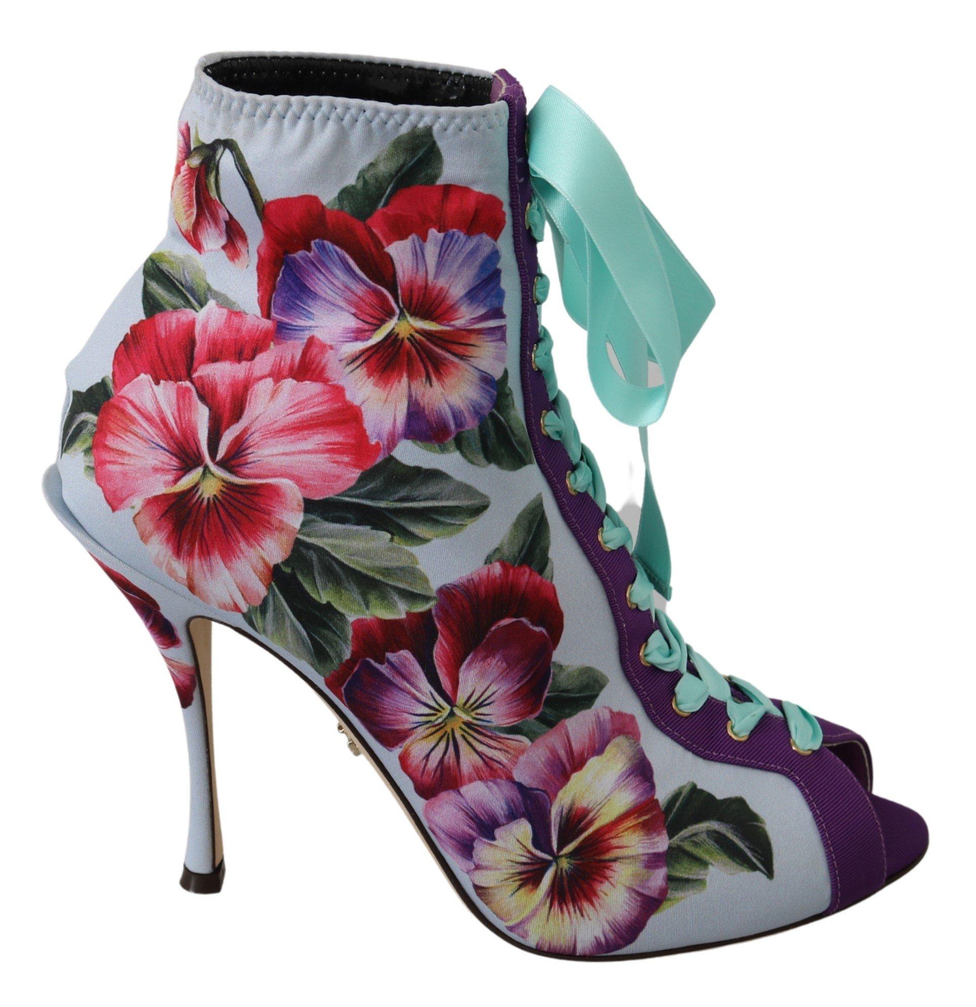 Purple Floral Jersey Stretch Open Boots Shoes - EU39/US8.5