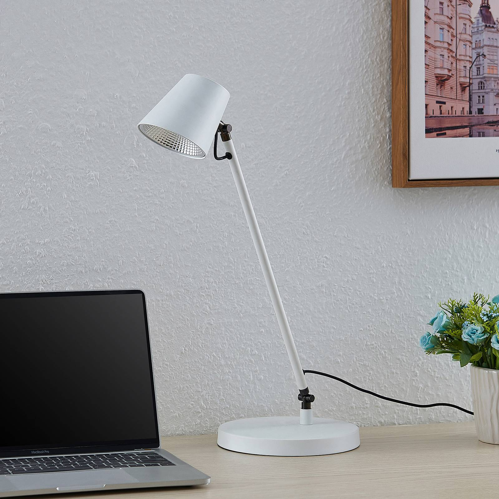 Lucande Kenala -LED-pöytälamppu, valkoinen