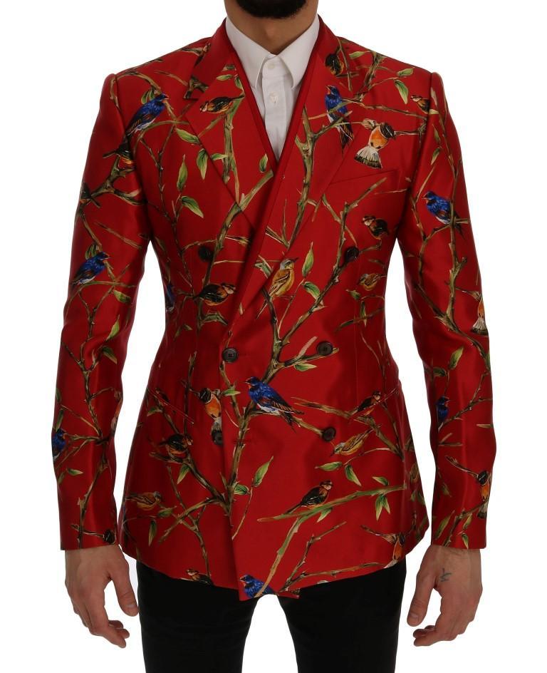 Dolce & Gabbana Men's Bird Print Silk Slim Fit Blazer Red SIG60254 - IT44   XS