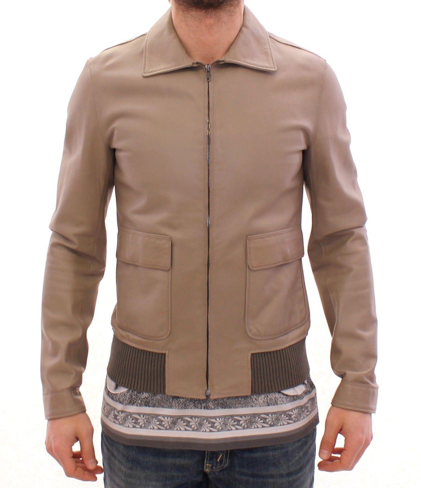 Dolce & Gabbana Men's Biker Leather Jacket Beige GSD12727 - IT52   XL