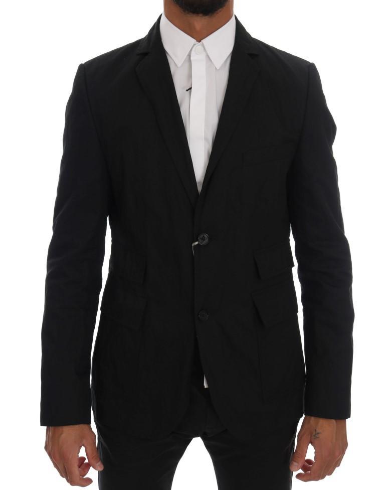Daniele Alessandrini Men's Cotton Slim Fit Blazer Black KOS1038 - IT50 | L