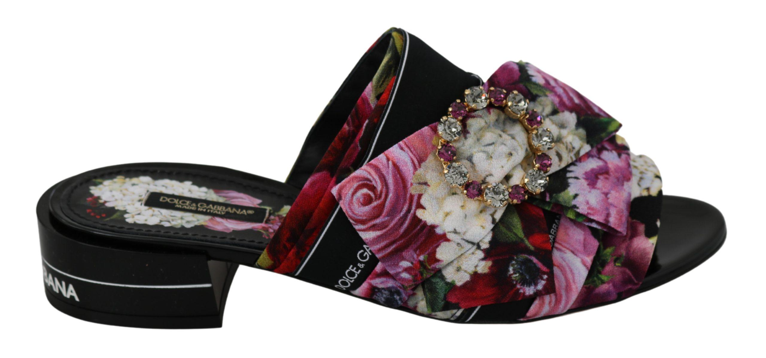 Dolce & Gabbana Women's Floral Crystal Sandals Black LA6567 - EU35.5/US5