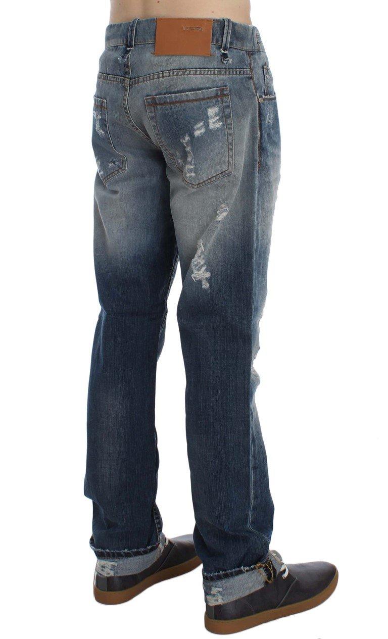 ACHT Men's Wash Torn Cotton Stretch Regular Fit Jeans Blue SIG30492 - W34