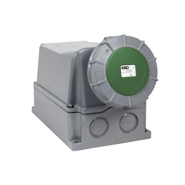Garo UIV 3125-10 S + RU Seinäpistorasia IP67, 4-napainen, 125A Vihreä, 10 h