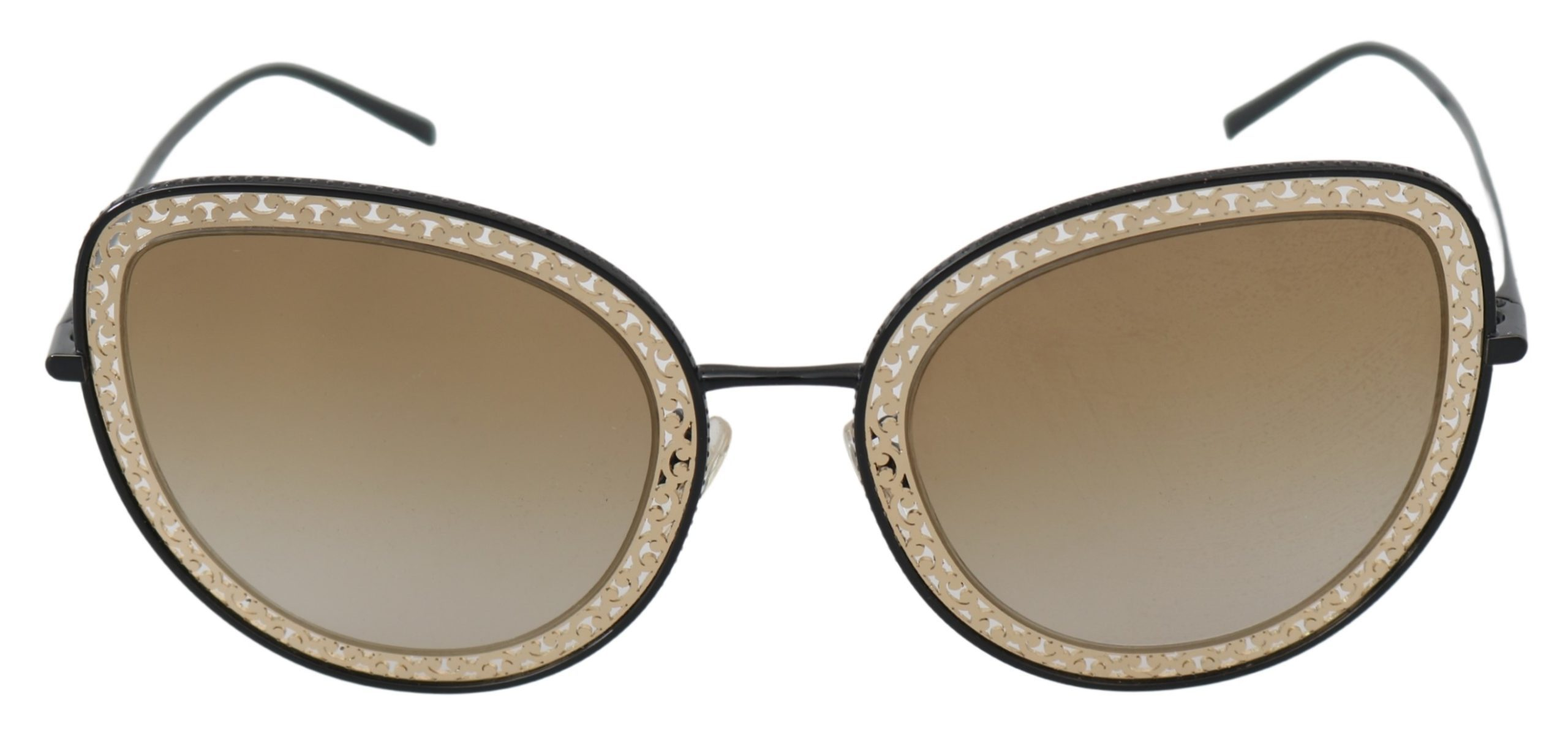 Dolce & Gabbana Women's Rectangle Metal Sunglasses Gold Black GLA754