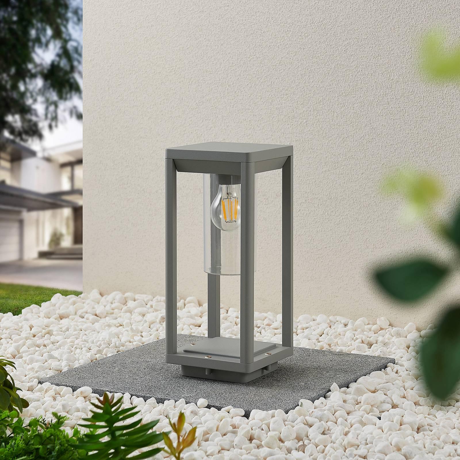 Lindby Estami -pollarilamppu, 35 cm, hopeanharmaa