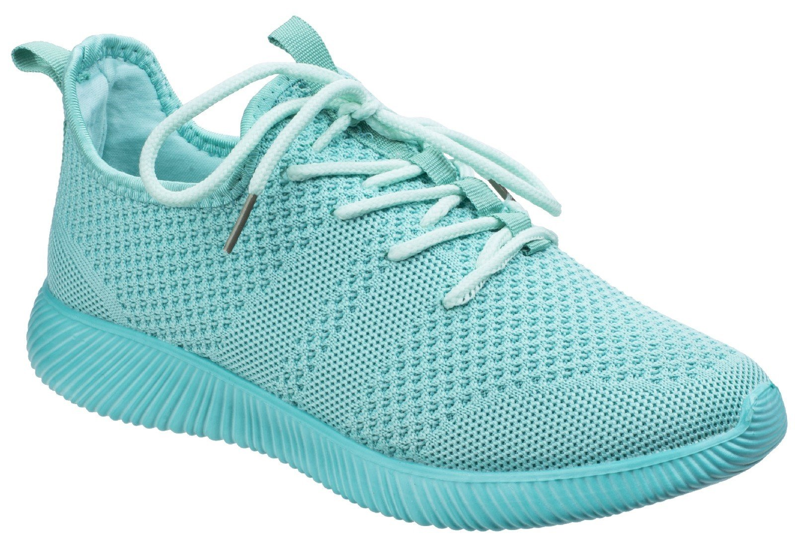 Divaz Women's Heidi Knit Trainer Grey 26327-43957 - Turquo 8