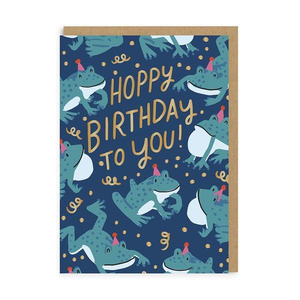 Hoppy Frog Birthday Greeting Card