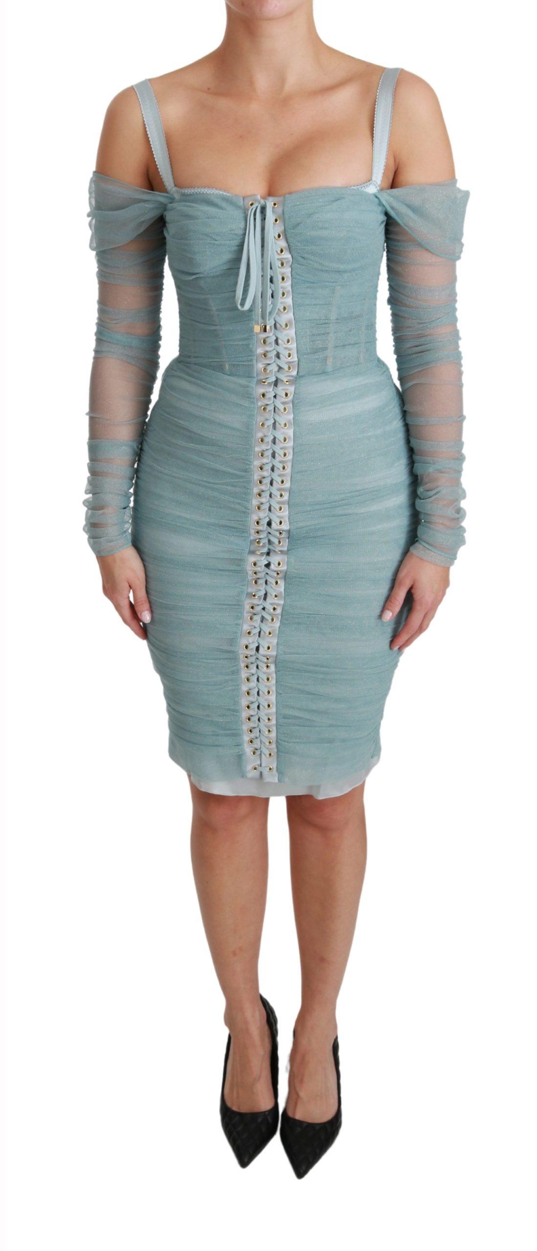 Dolce & Gabbana Women's LS Stretch Dress Blue DR2491 - IT42 M