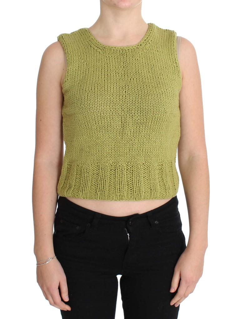 Pink Memories Women's Knitted Sleeveless Sweater Green SIG30250 - One Size