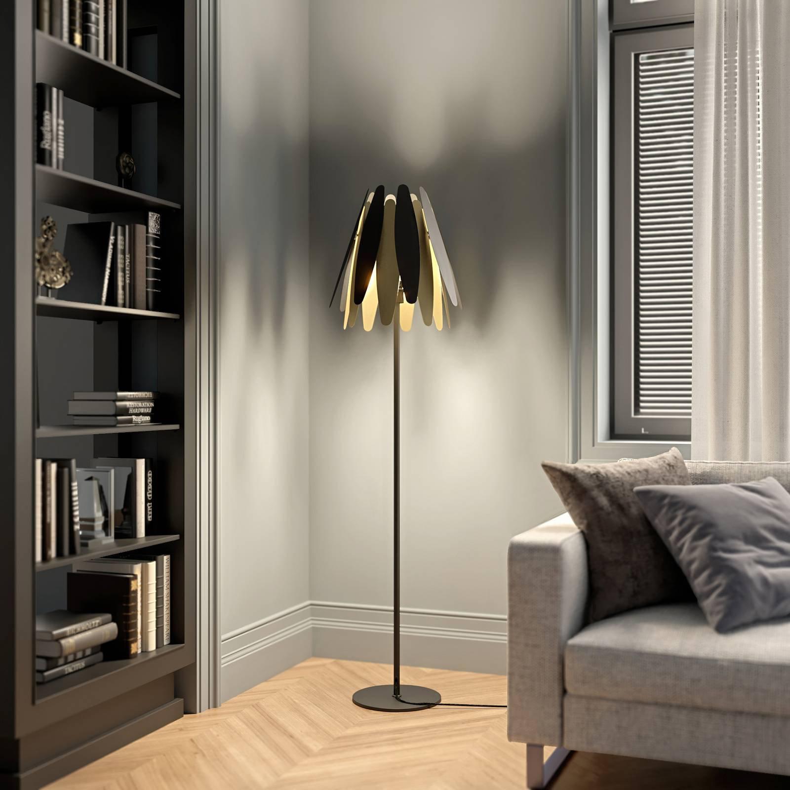 Lucande Lounit gulvlampe, svart-gull