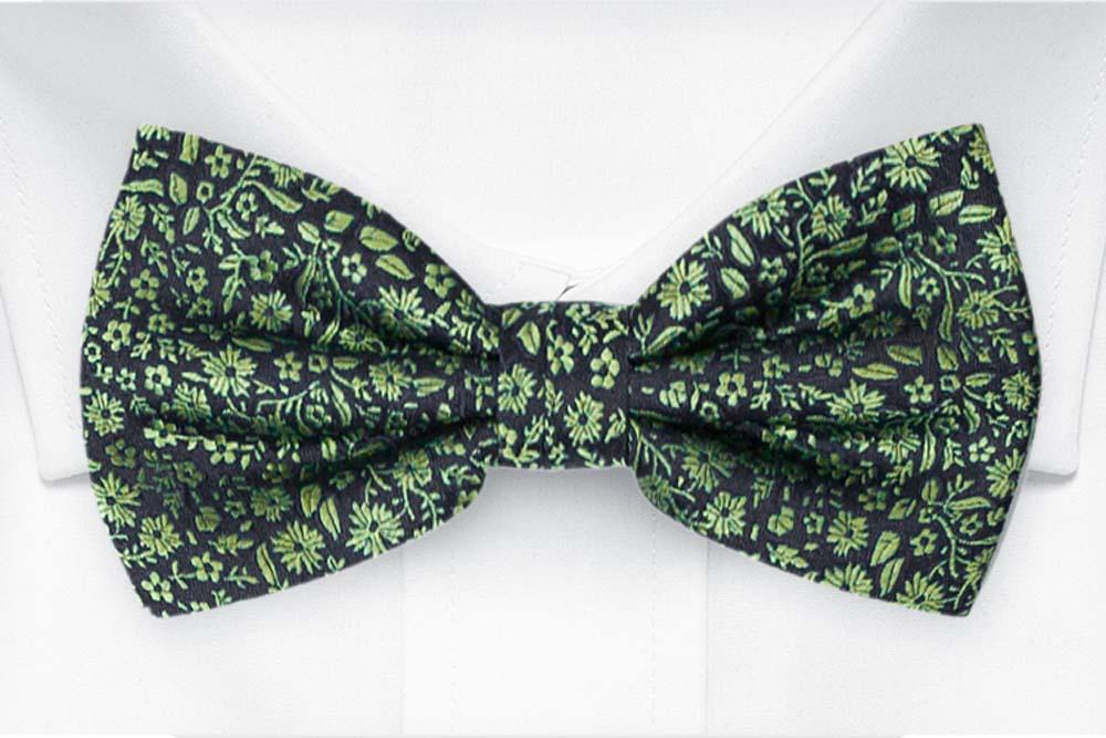 Silke Sløyfer Knyttede, Mørkeste marineblått med grønt, blomstermønster