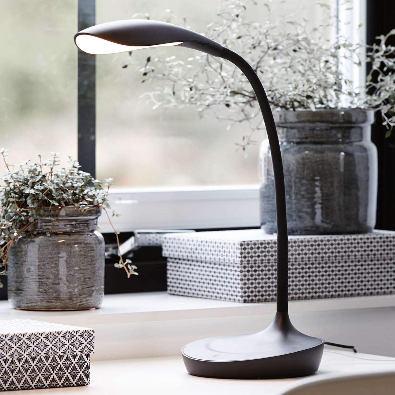 Swan-LED-pöytävalaisin, musta
