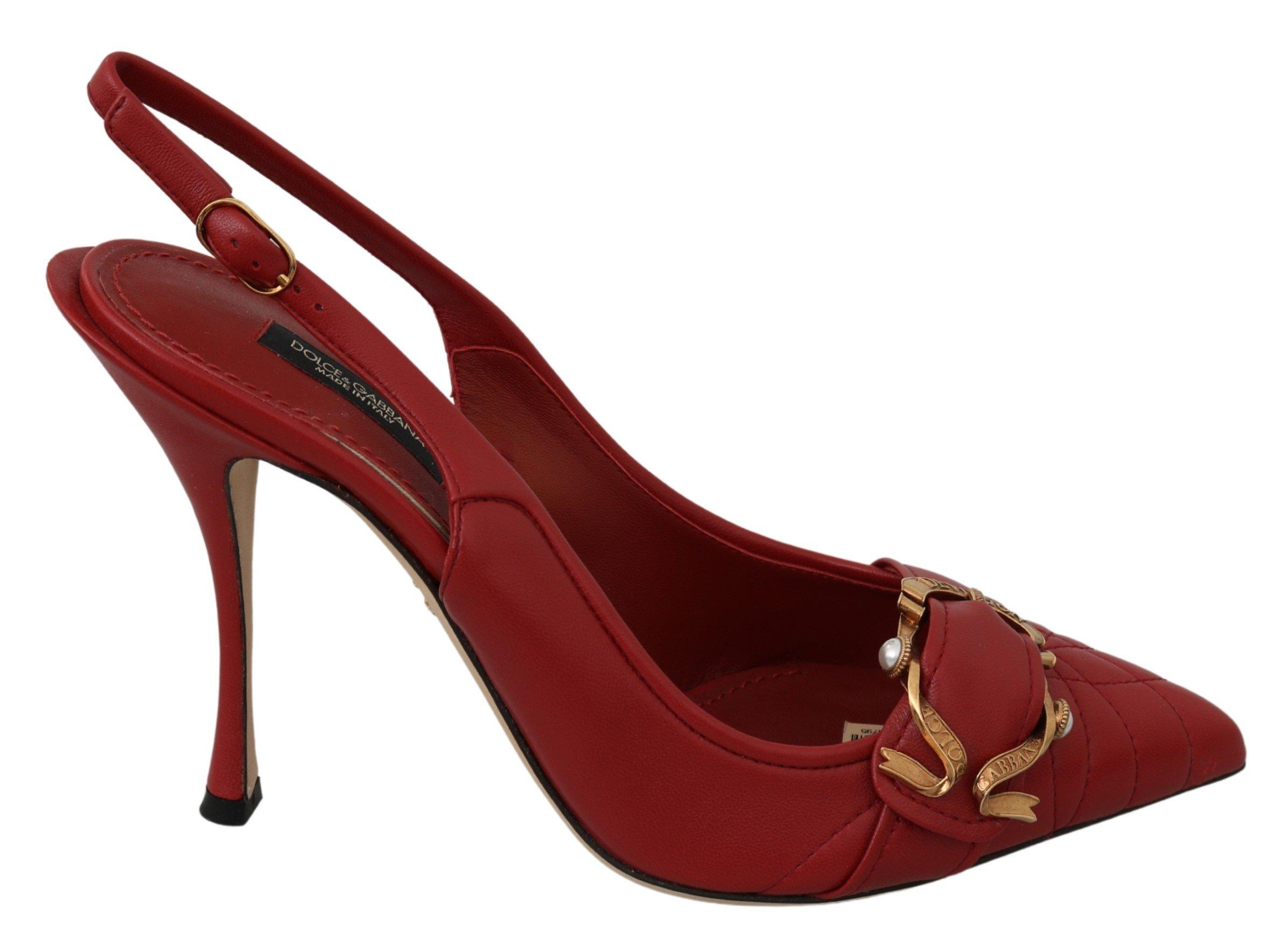 Dolce & Gabbana Women's Devotion High Slingback Heels Red LA7133 - EU39/US8.5