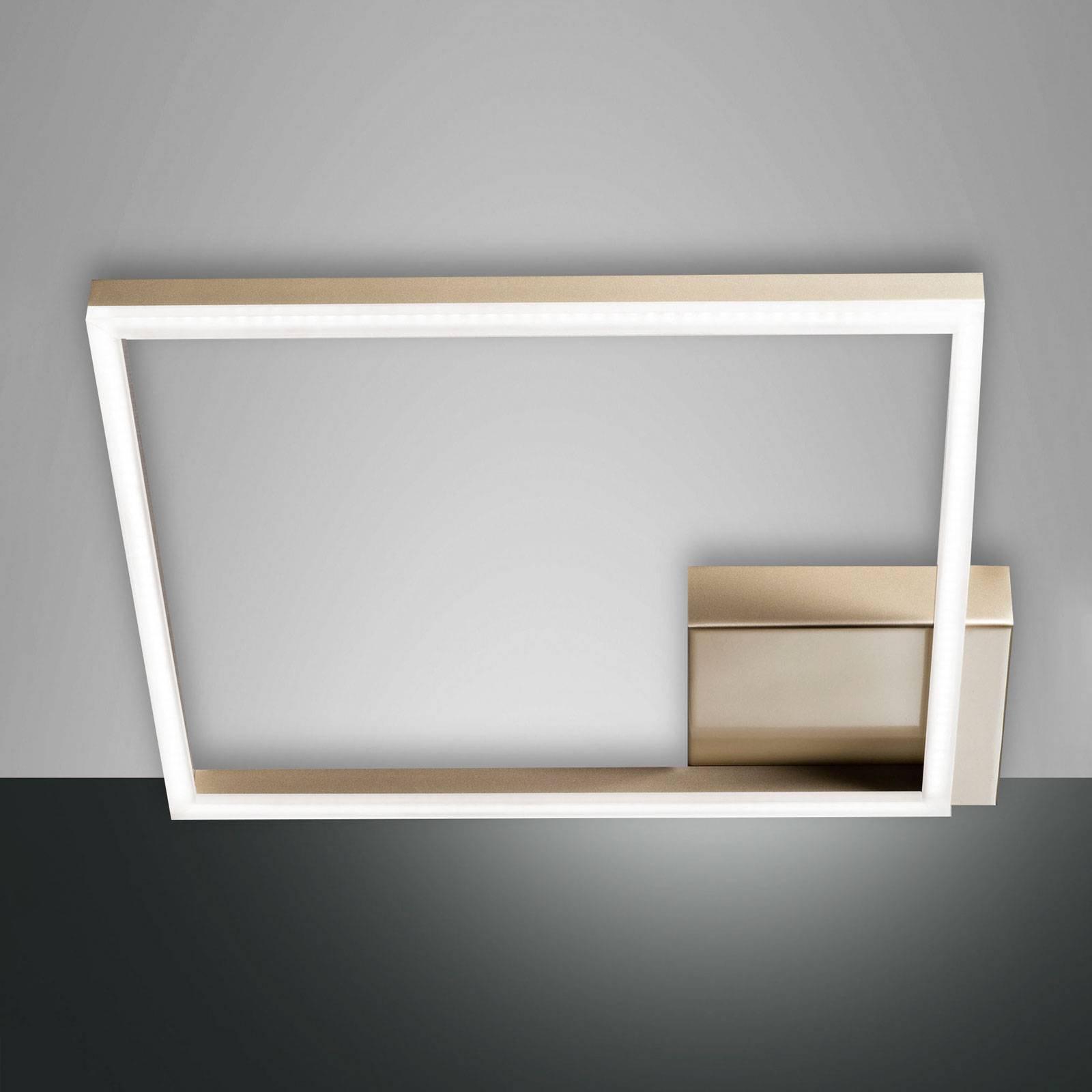 LED-taklampe Bard, 42x42cm, matt gull-finish