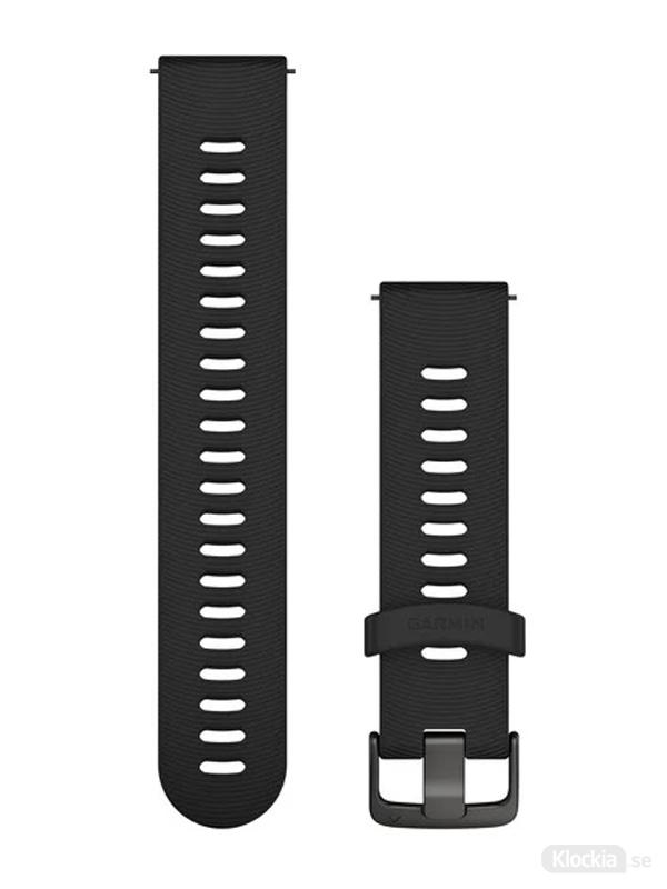 Garmin Armband 20mm med snäppspänne, Svart silikonarmband med skiffergrå detaljer