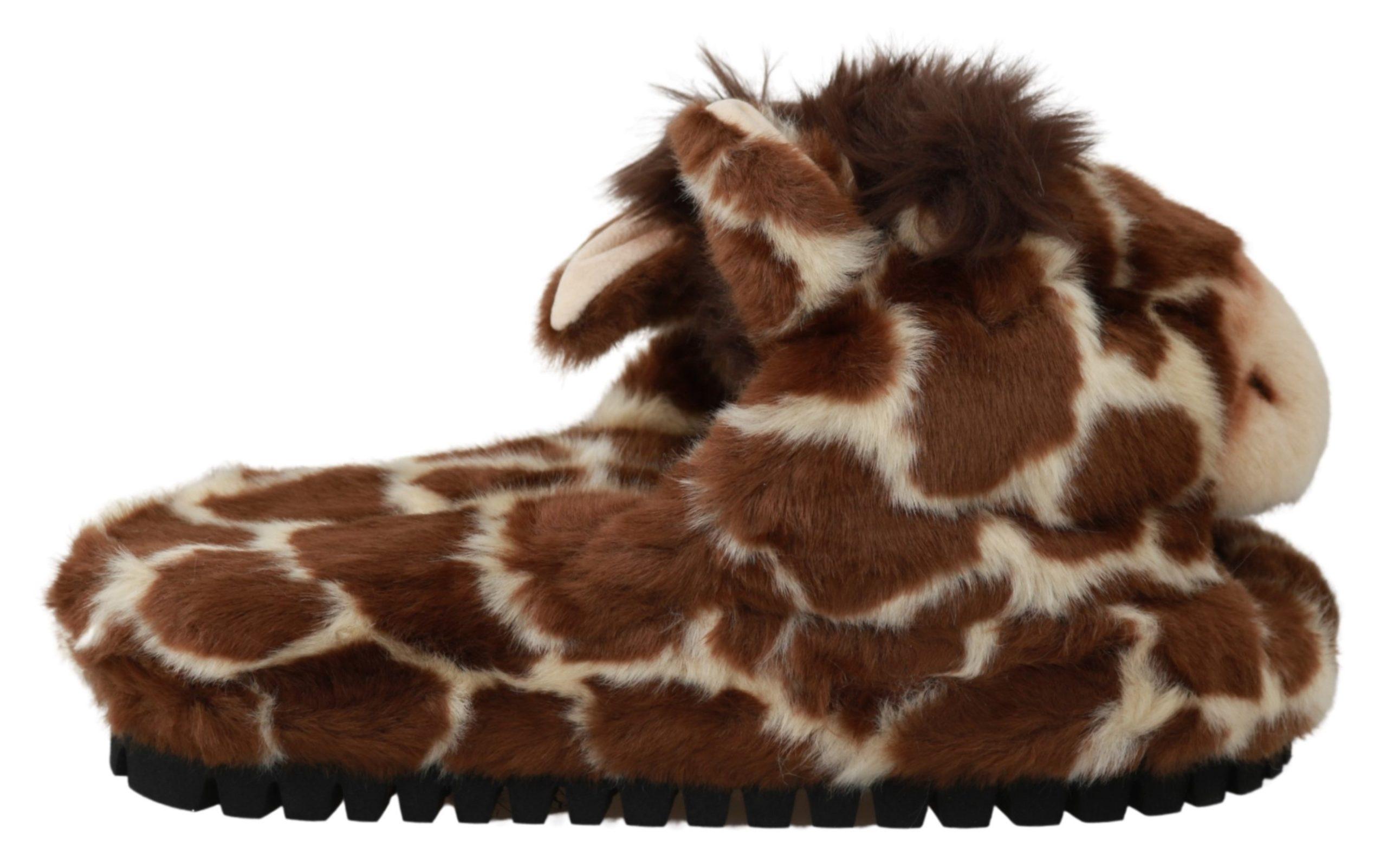 Dolce & Gabbana Women's Giraffe Slipper Brown LA6457 - EU35/US4.5