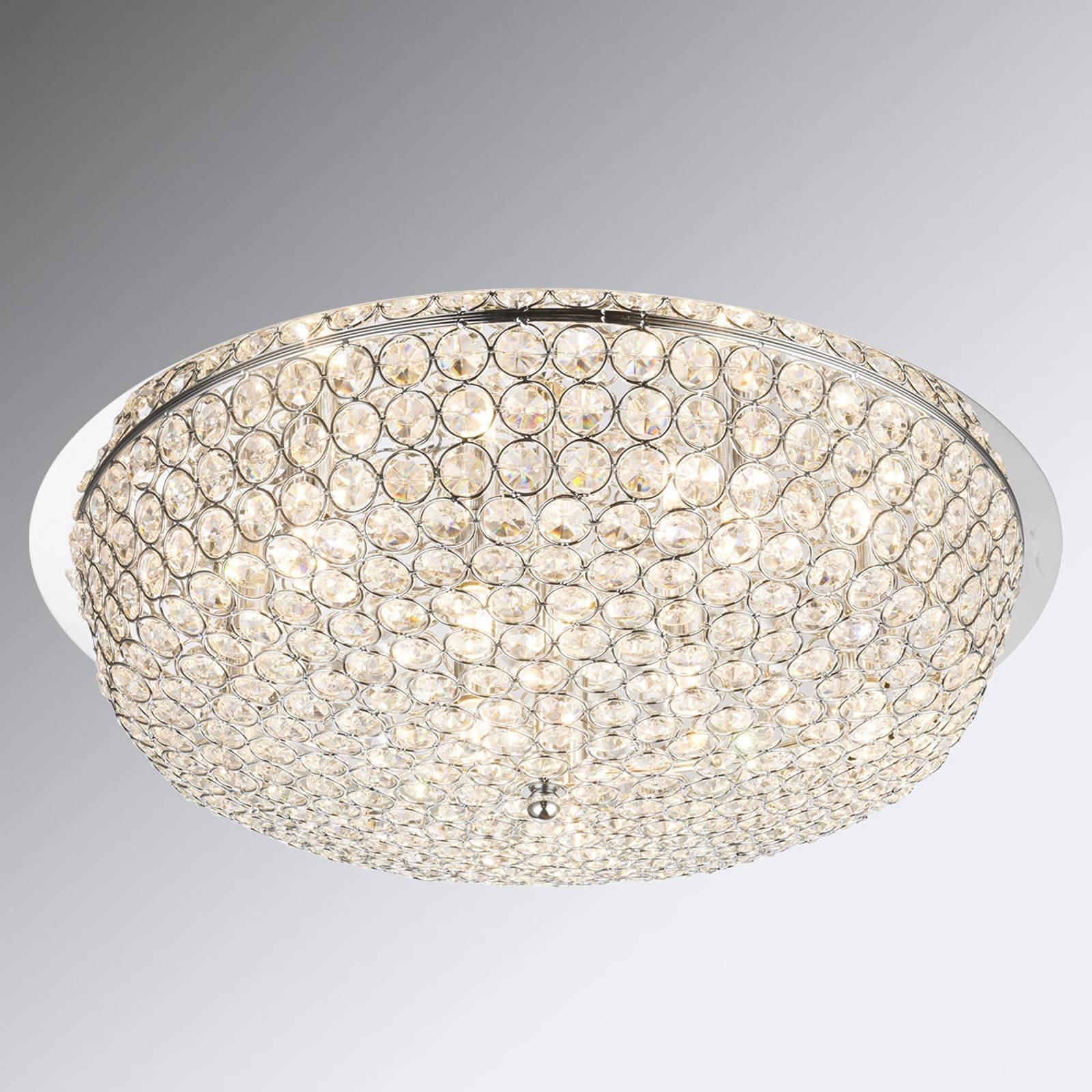 Taklampe Emilia i krystall, med LED-pærer