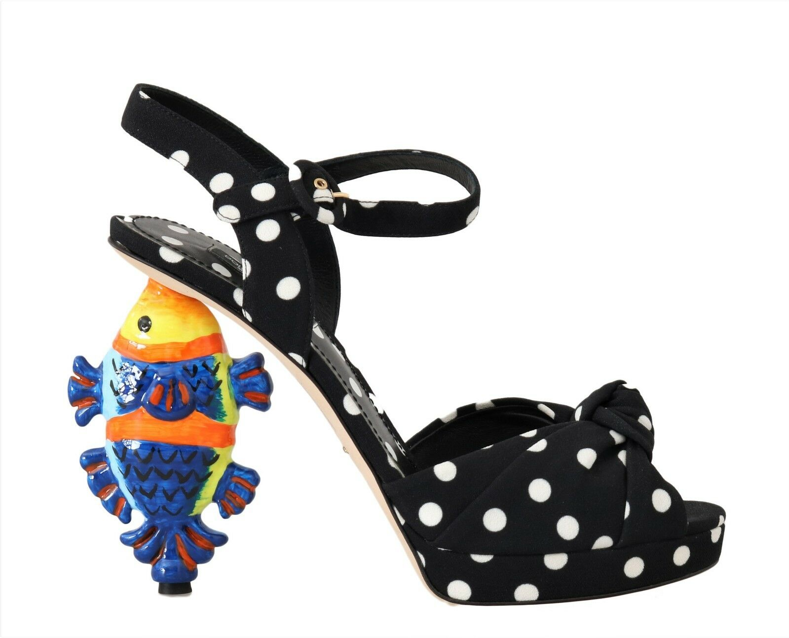 Dolce & Gabbana Women's Ankle Strap Fish Heel Black LA4286 - EU36/US5.5