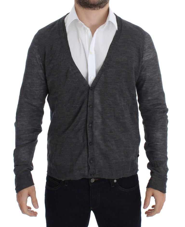 Costume National Men's Wool Button Cardigan Gray SIG17808 - IT52 | XL