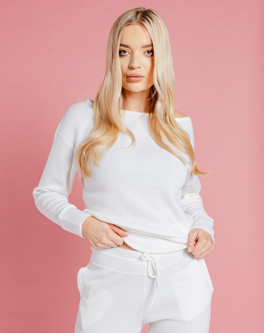 Auriel Knitted Lounge Top - White / 8