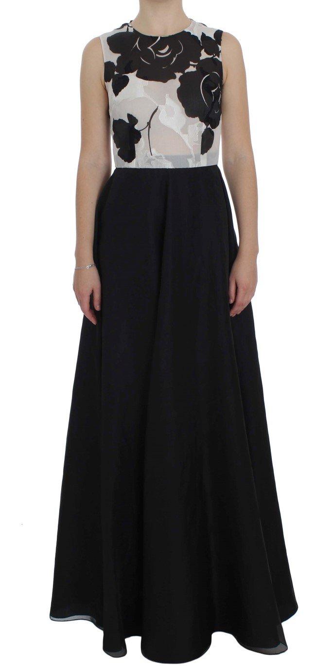 Dolce & Gabbana Women's Floral Silk Sheath Gown Dress Black NOC10142 - IT40|S