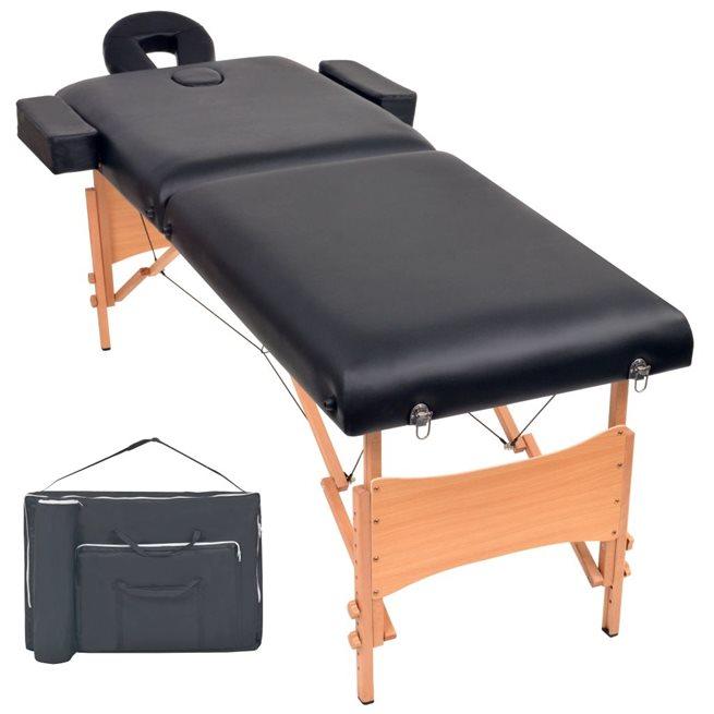 vidaXL Hopfällbar massagebänk 2 sektioner 10 cm tjock svart
